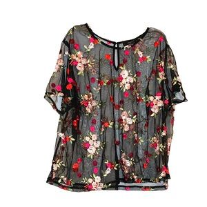 Plus size sheer floral mesh Twofer Top